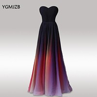 Gradient Color Long Evening Dress A line Strapless Sweetheart Chiffon Floor Length Formal Prom Party Gown Robe De Soiree
