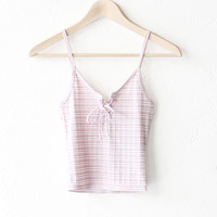 Striped Lace Up Crop Top - Mauve