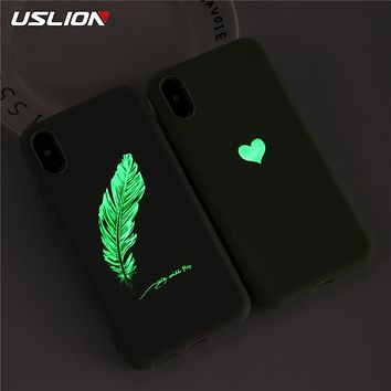 Soft TPU Luminous Phone Cases For iPhone 7 8 6s Plus Glow Ultrathin Cover Couples Love Heart Case For iPhone 11 Pro 7Plus