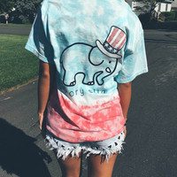 Women Ivory Ella Gradient Color Cartoon US Flag Hat Elephant Printed Short Sleeve Top Shirt T-Shirt _ 9277