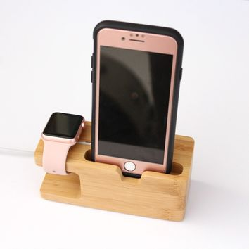 Bamboo Wood Charging Station for Apple Watch and Phone | Apple charging dock