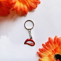 Lip Bite Keychain- Sexy 80s/ Retro Emoji Key chain