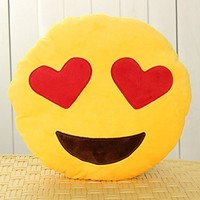 EvZ 32cm Emoji Smiley Emoticon Yellow Round Cushion Pillow Stuffed Plush Soft Toy