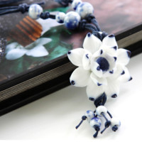 Original handmade ceramic necklace blue and white porcelain necklace-0411