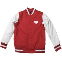 Emblem Twill & Leather Varsity Jacket in Red/White