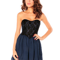 Strapless Lace Chiffon Sheath Pleated Mini Dress