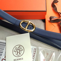 Hermes new bright gold pig nose buckle solid color classic simple men's and women's belt