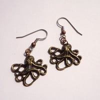 Steampunk Cthulhu Octopus Earrings Antiqued Brass