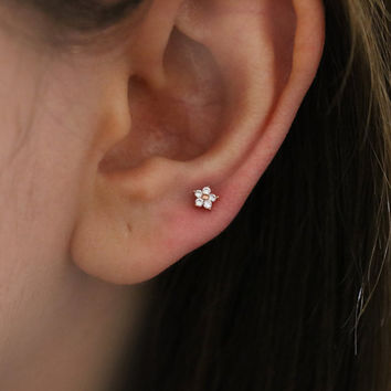 Tiny Baby Flower 4mm piercing, tragus piercing, conch piercing, helix piercing, tragus earring, tiny piercing, 4mm cartilage piercing stud