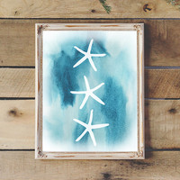 Starfish Sea Shells Coastal Decor Printable Beach Wall Art Ocean Print Nautical Art Instant Download Nursery Print 8x10 11x14 AquaWatercolor
