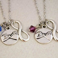 Pinky Promise Charm Necklaces - Pinky Swear Birthstone Jewelry - Two Best Friends Necklaces - Custom Monogram Jewelry - Best Friend Gift