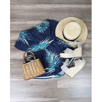 Reverse - Tainted Love Strapless Romper - Navy/Leaf