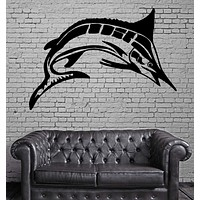Wall Mural Vinyl Art Sticker Marlin Fish Fishing and Hunting Hobby Decor Unique Gift (m328)