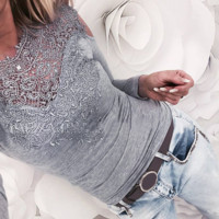 Fashion New Solid Color Lace Long Sleeve Top Women Gray