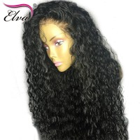 Elva Hair 180% Density 360 Lace Frontal Wig Curly Human Hair Wigs Remy Hair Pre Plucked Hairline With Baby Hair Bleached Knots