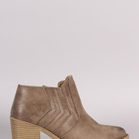 Qupid Distressed Suede Stitched Chevron Western Booties
