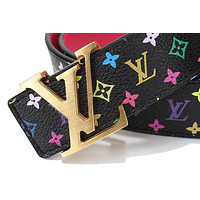 LOUIS VUITTON MEN/WOMEN LEATHER PLATE BUCKLE BELTS