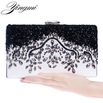 Hot selling PU leather women bag handmade embroidery style beaded clutch purse evening bag for wedding party purse/evening bag