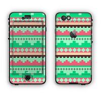 The Lime Green & Coral Tribal Ethic Geometric Pattern Apple iPhone 6 Plus LifeProof Nuud Case Skin Set