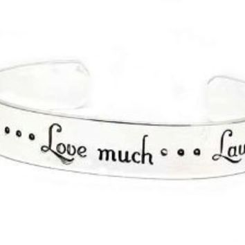 Live Well, Love Much, Laugh Often Inspirational Message Silver Tone Metal Cuff Bracelet: Jewelry: Amazon.com