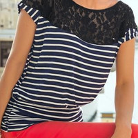 Blue And White Striped Lace Patchwork T-Shirt