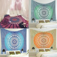 Indian Mandala Tapestry Flower Wall Hanging Multifunctional Bedspread Cover