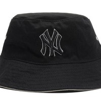 DCCKBE6 New York Yankees Full Leather Bucket Hats Black-White