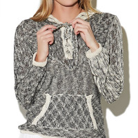 Hooded Lace Up Sweater | Wet Seal