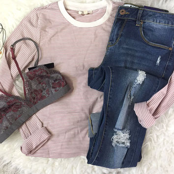 Striped Long Sleeve Crop Top - Rose