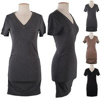 Sexy Knitted Sweater Short Sleeve Tops Pullover Shirred Side Mini Dress Jumper