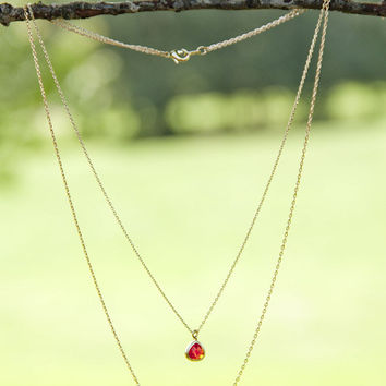 Sweet Kisses Red Stone Gold Bar Layered Chain Necklace
