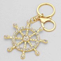 Nautical Gold Rhinestone Cute Keychain