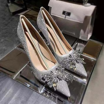 New style wedding crystal shoes pointed toe sequined high heels