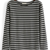 Monochrome Stripe Patched Long Sleeve Top