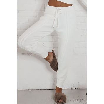Cozy Nights Ivory Knit Pants