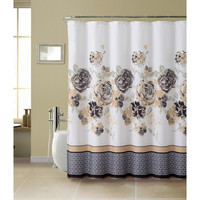 Shower Curtain- 13 Pc With Rollerball Hook-Tabitha Set