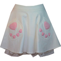 kitty paw white lace skirt