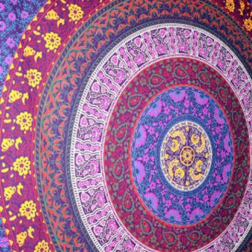 Mandala Tapestry Blue Circle Of Flowers Hippie Mandala Tapestries Wall Hanging Queen Double Bed Sheet Bedding Throw