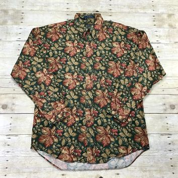 Vintage 90s Chaps Ralph Lauren Raspberry Floral Print Button Down Shirt Mens Size Medium