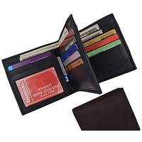 Hipster Genuine Leather Bifold Middle ID Flap Wallet 1501