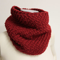 Red Chunky Cowl, Knit Infinity Scarf, Red Neck Warmer, Knit Snood Scarf, Wool Infinity Scarf, Knitted Cowl, Red Winter Scarf, Circle Scarf