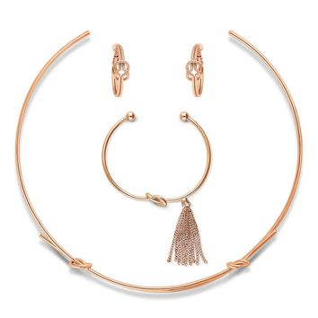 Rose Gold-Tone CZ Fringe Love Knot Choker Necklace Earrings and Bracelet SetBe the first to write a reviewSKU# vs507-03