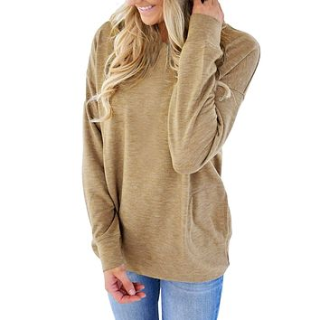 Olive Casual Pocket Style Long Sleeve Top