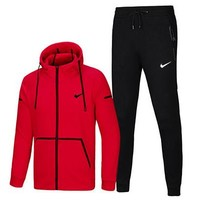 NIKE autumn and winter new plus velvet warm hooded sportswear two-piece red