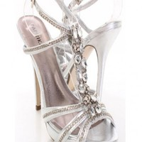 Silver Metallic Faux Leather Chain Strapped Gemstone Heels @ Amiclubwear Heel Shoes online store sales:Stiletto Heel Shoes,High Heel Pumps,Womens High Heel Shoes,Prom Shoes,Summer Shoes,Spring Shoes,Spool Heel,Womens Dress Shoes,Prom Heels,Prom Pumps,High