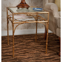 Dessau Home HC587 Antique Gold Bamboo Table with Beveled Glass