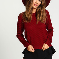 Burgundy Quilted Knit Sweater Top