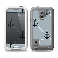 The Navy & Gray Vintage Solid Color Anchor Linked Samsung Galaxy S5 LifeProof Fre Case Skin Set