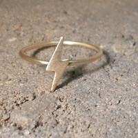 Harry Potter Lightening Bolt Knuckle Ring -Layering Above the Knuckle Gold Brass Stackable Ring