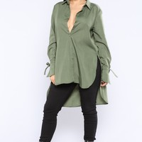 Aubrey Button Down Top - Olive